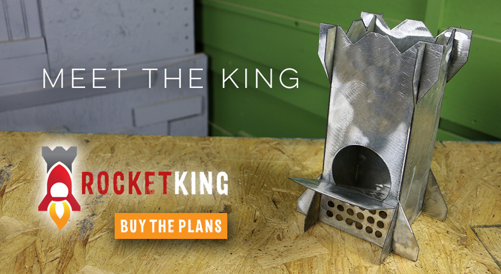 the rocket king metal rocket stove sits on a piece of wood